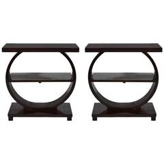 Pair of Art Deco Style Mahogany End Tables by Modernage, 1940s