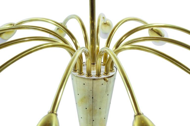 20th Century Brass Sputnik Chandelier, Italy 1950s For Sale