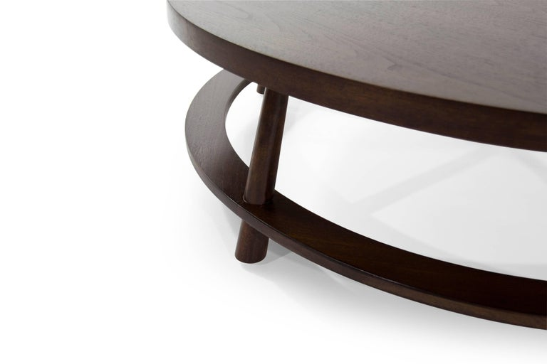 20th Century T.H. Robsjohn-Gibbings for Widdicomb Round Walnut Cocktail Table, 1954 For Sale