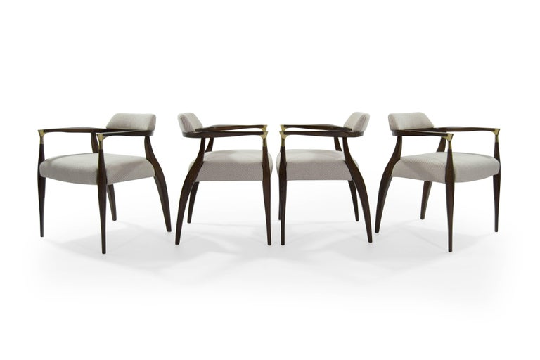 Modern Brass-Accented Walnut Armchairs In Excellent Condition For Sale In Stamford, CT