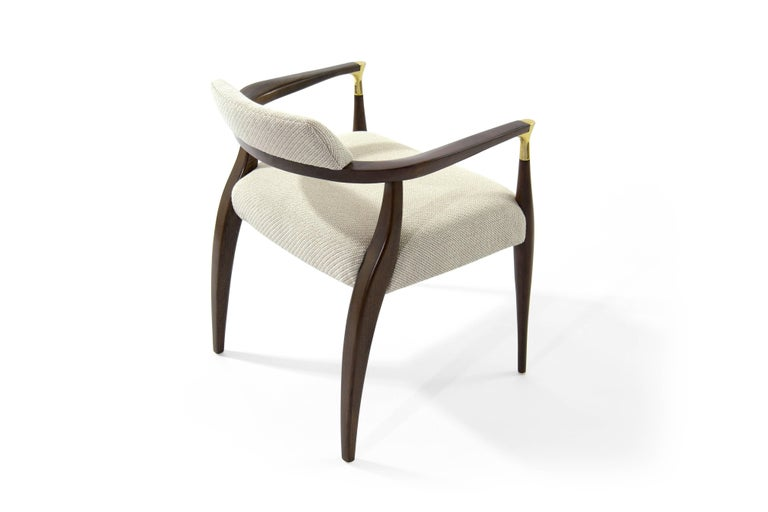 20th Century Modern Brass-Accented Walnut Armchairs For Sale