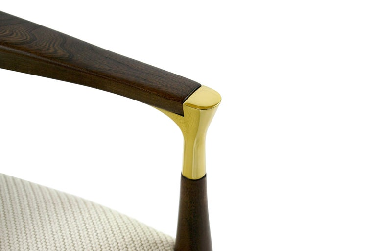 Modern Brass-Accented Walnut Armchairs For Sale 4