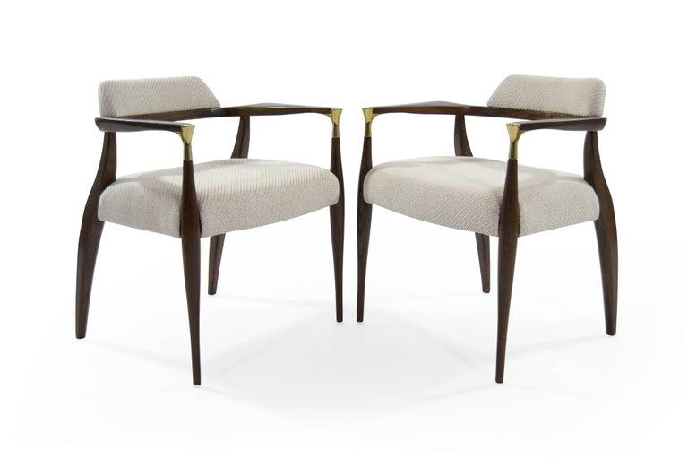 Scandinavian Modern Modern Brass-Accented Walnut Armchairs For Sale