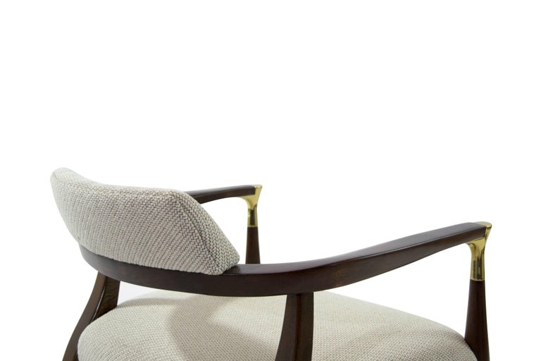 Modern Brass-Accented Walnut Armchairs For Sale 1