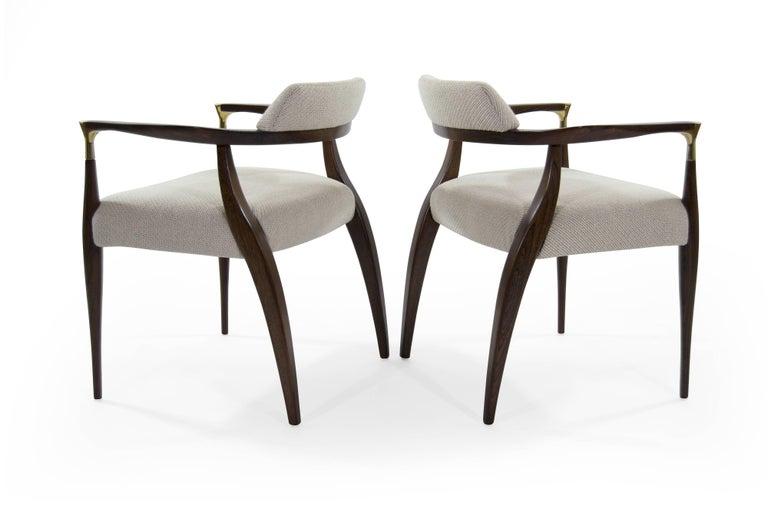 Danish Modern Brass-Accented Walnut Armchairs For Sale