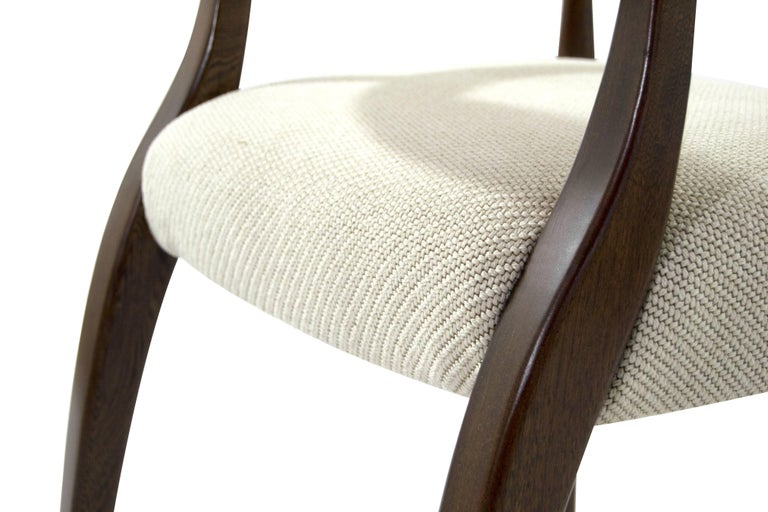 Modern Brass-Accented Walnut Armchairs For Sale 3