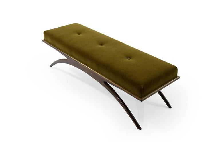 Mid-Century Modern Convex Bench in Olive Mohair by Stamford Modern For Sale