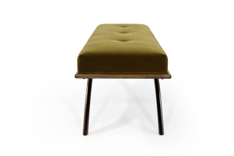 Convex Bench in Olive Mohair by Stamford Modern In New Condition For Sale In Stamford, CT