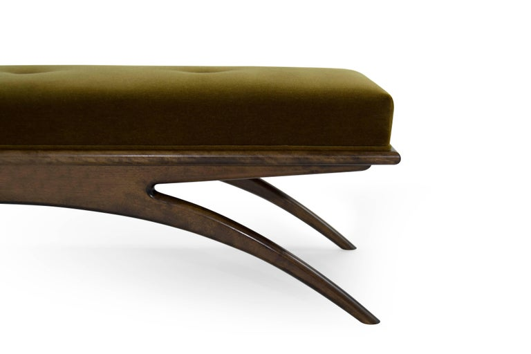 Contemporary Convex Bench in Olive Mohair by Stamford Modern For Sale