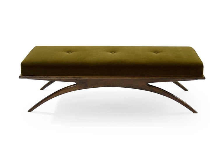 American Convex Bench in Olive Mohair by Stamford Modern For Sale