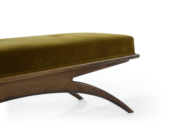 Convex Bench in Olive Mohair by Stamford Modern For Sale 1