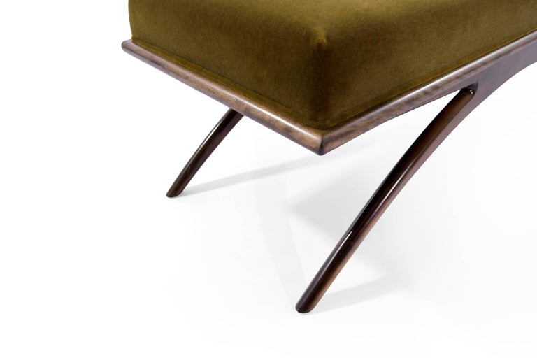 Convex Bench in Olive Mohair by Stamford Modern For Sale 2