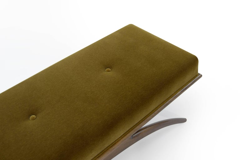 Convex Bench in Olive Mohair by Stamford Modern For Sale 3