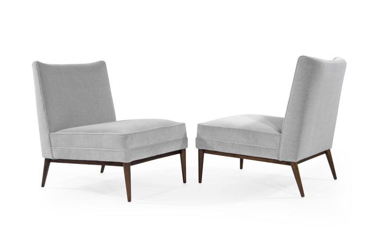 Mid-Century Modern Paul McCobb Slipper Chairs in Grey Mohair For Sale