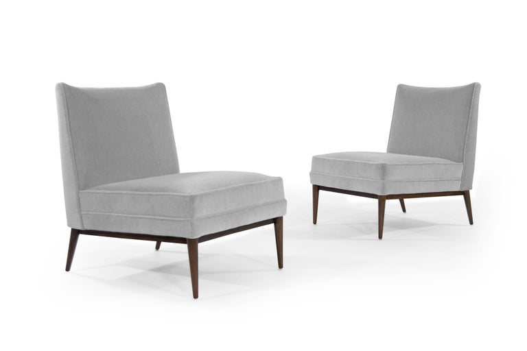 American Paul McCobb Slipper Chairs in Grey Mohair For Sale