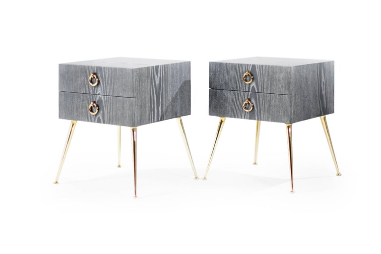 Contemporary Gibby Collection End Tables in Grey Ceruse For Sale