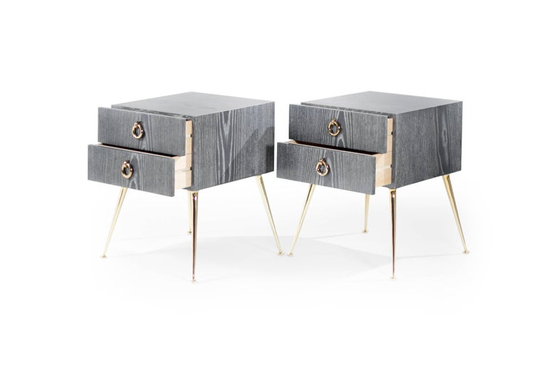 American Gibby Collection End Tables in Grey Ceruse For Sale