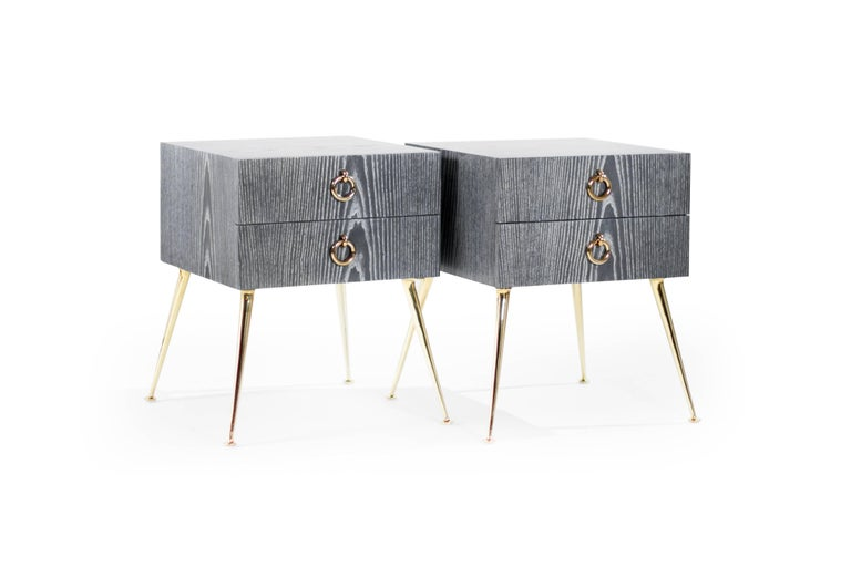 Mid-Century Modern Gibby Collection End Tables in Grey Ceruse For Sale