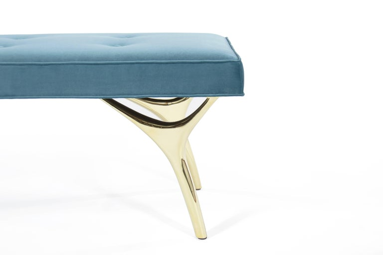 Contemporary Stamford Modern's Crescent Bench in Brass and Velvet For Sale