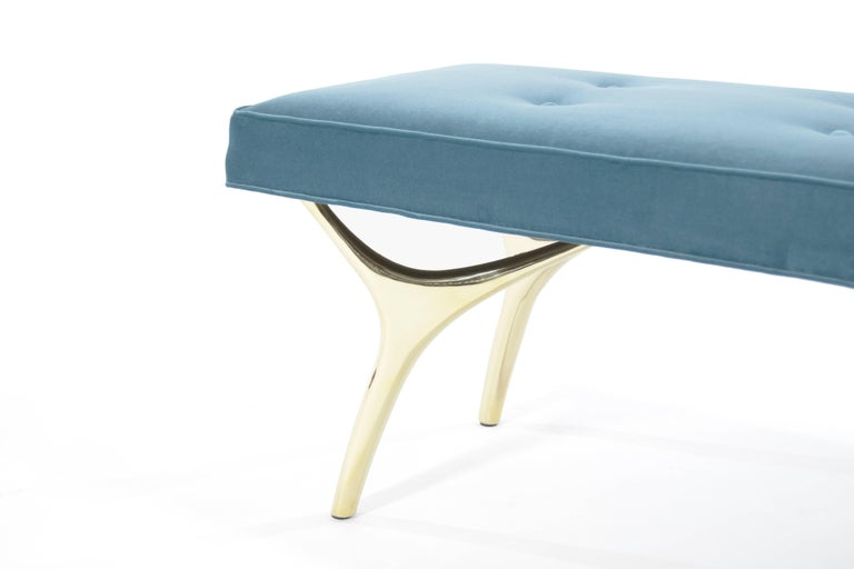 Stamford Modern's Crescent Bench in Brass and Velvet For Sale 1