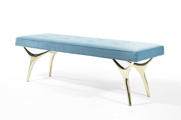 American Stamford Modern's Crescent Bench in Brass and Velvet For Sale
