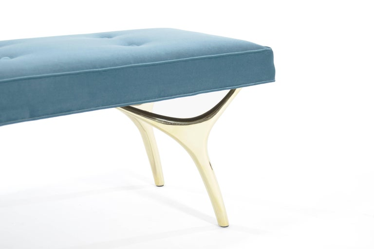 Stamford Modern's Crescent Bench in Brass and Velvet For Sale 3