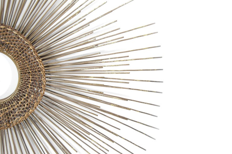 Woven Sunburst Wall Sculpture, 1950s In Excellent Condition For Sale In Stamford, CT
