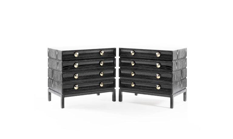 Black Modern Bedside Table: Stacked Bedside Tables In Black Ceruse For Sale At 1stdibs