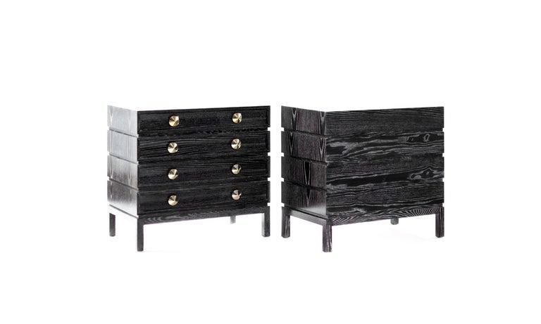 Stacked Bedside Tables In Black Ceruse For Sale At 1stdibs