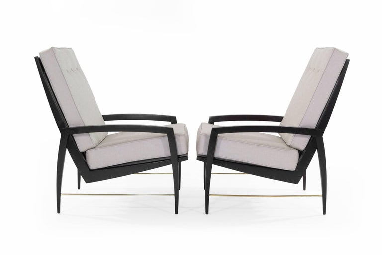 Danish Scandinavian Modern Brass Rodded Lounge Chairs, 1950s For Sale