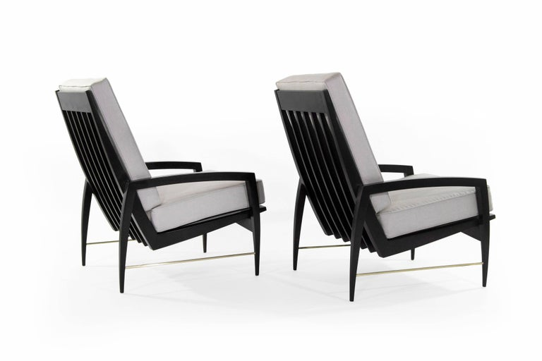 Scandinavian Modern Brass Rodded Lounge Chairs, 1950s For Sale 2