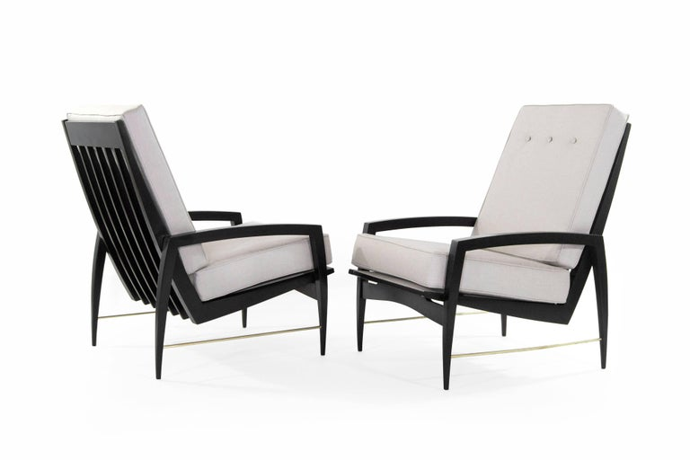 Scandinavian Modern Brass Rodded Lounge Chairs, 1950s In Excellent Condition For Sale In Stamford, CT