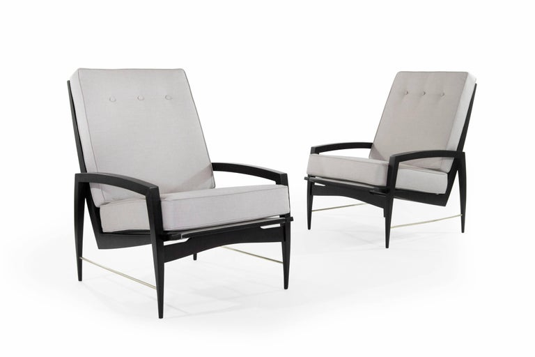 20th Century Scandinavian Modern Brass Rodded Lounge Chairs, 1950s For Sale