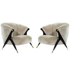Modernist Karpen Lounge Chairs in Beige Chenille