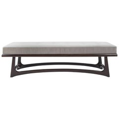 Modernist Sculptural Walnut Bench in Velvet
