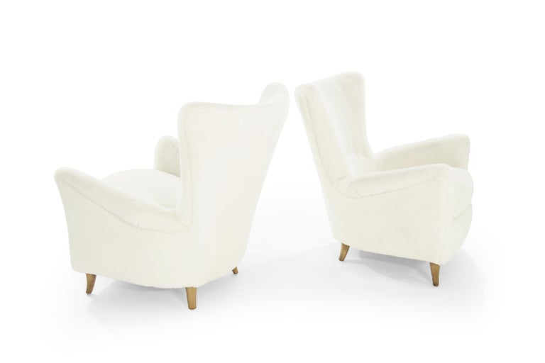 Italian Gio Ponti Lounge Chairs in Shearling for the Hotel Bristol, circa 1950s For Sale