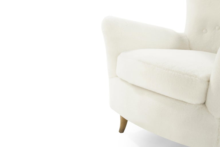 Gio Ponti Lounge Chairs in Shearling for the Hotel Bristol, circa 1950s For Sale 1