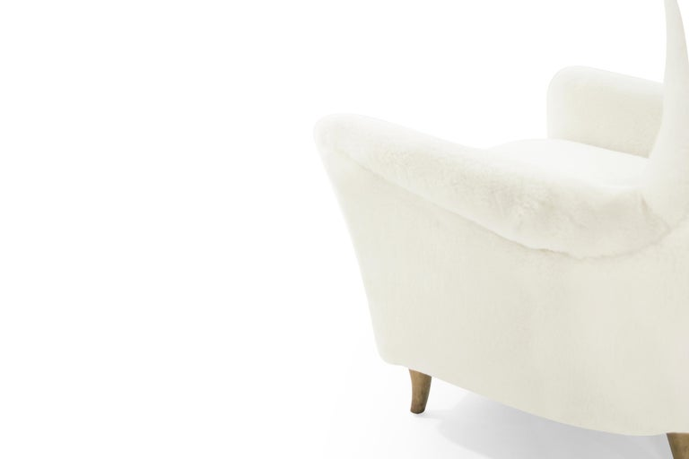 Gio Ponti Lounge Chairs in Shearling for the Hotel Bristol, circa 1950s For Sale 2