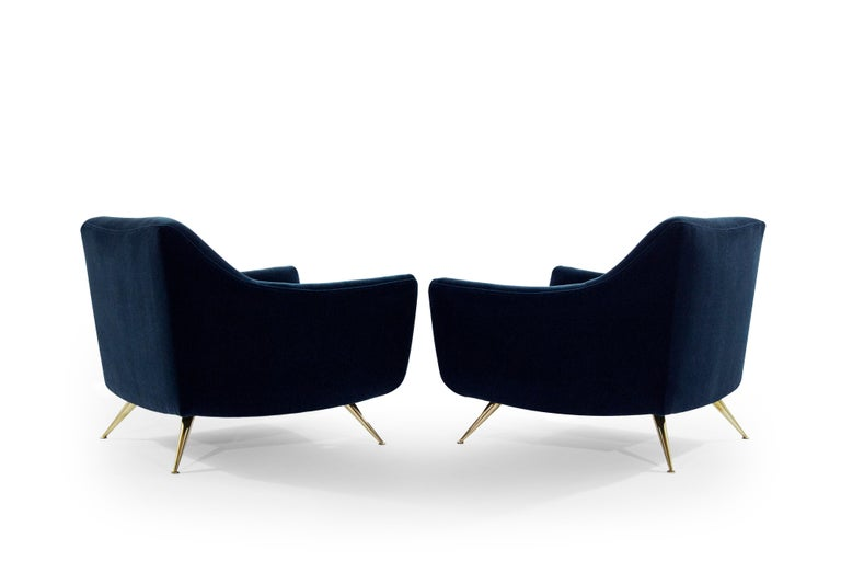 American Mid-Century Modern Henry Glass Lounge Chairs in Navy Mohair For Sale