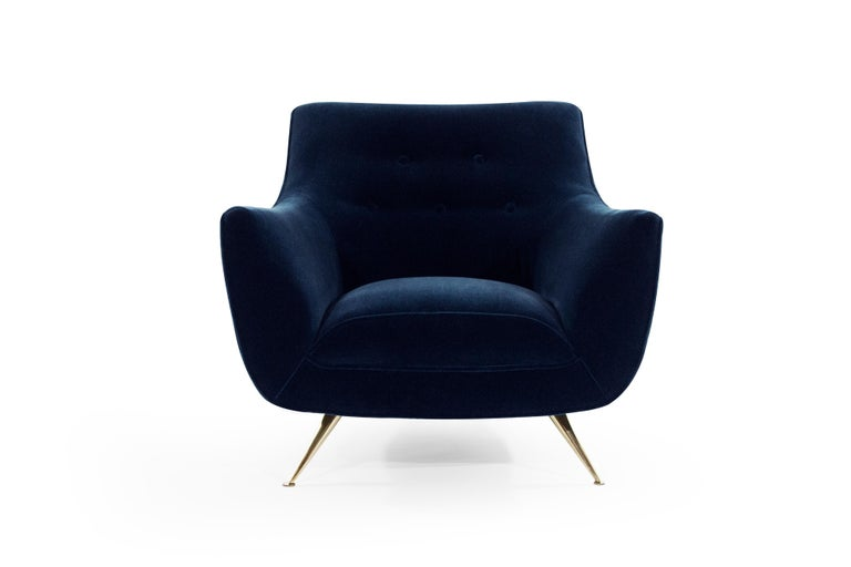 20th Century Mid-Century Modern Henry Glass Lounge Chairs in Navy Mohair For Sale