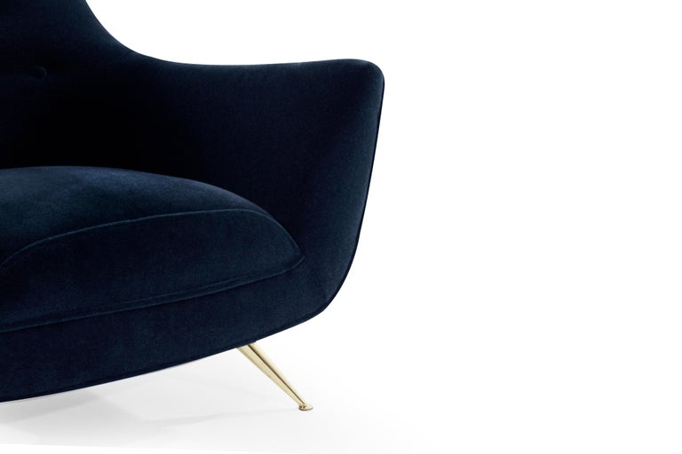 Brass Mid-Century Modern Henry Glass Lounge Chairs in Navy Mohair For Sale