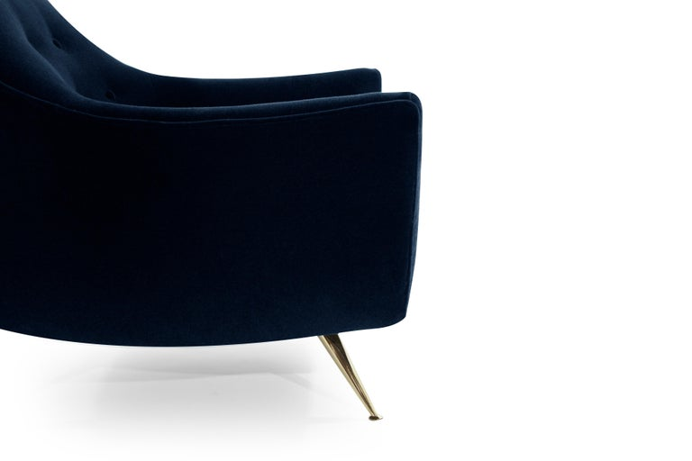 Mid-Century Modern Henry Glass Lounge Chairs in Navy Mohair For Sale 1