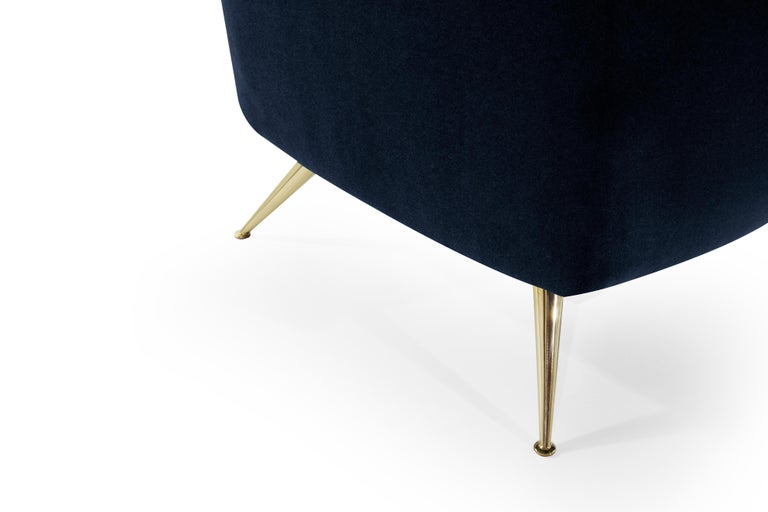 Mid-Century Modern Henry Glass Lounge Chairs in Navy Mohair For Sale 2