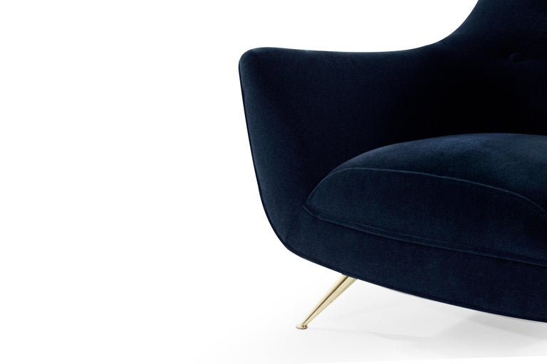 Mid-Century Modern Henry Glass Lounge Chairs in Navy Mohair For Sale 3