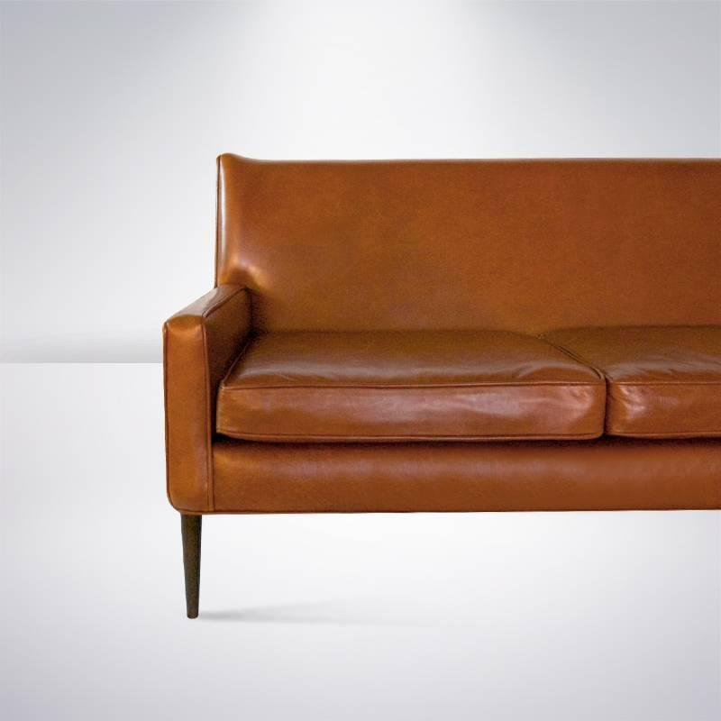 paul mccobb for directional sofa in cognac leather at 1stdibs. Black Bedroom Furniture Sets. Home Design Ideas
