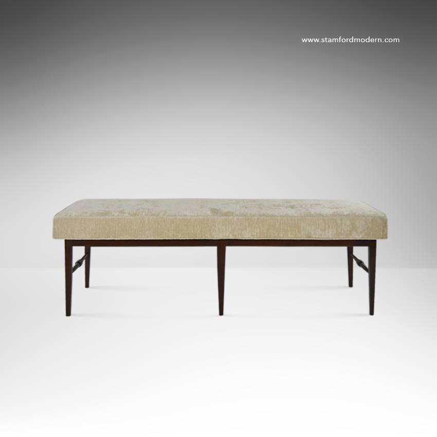 Mid Century Spindle Bench In Ivory Chenille For Sale At 1stdibs