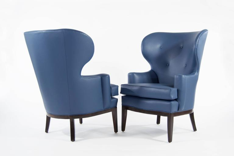 Mid-Century Modern Pair of Early Wingback Chairs by Edward Wormley for Dunbar, circa 1940s For Sale