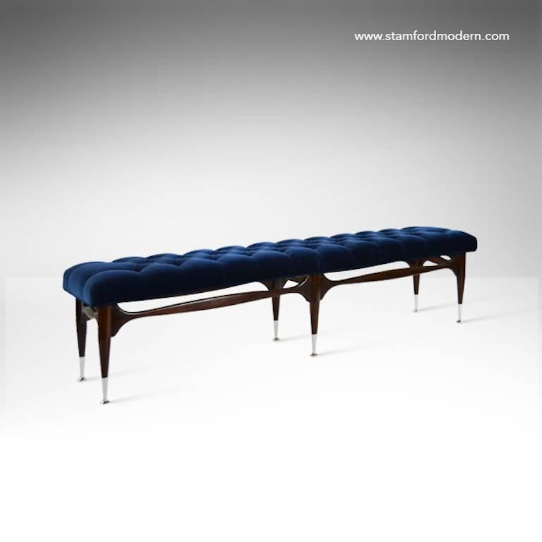 Mid Century Sculptural Tufted Bench In Navy Blue Velvet At 1stdibs