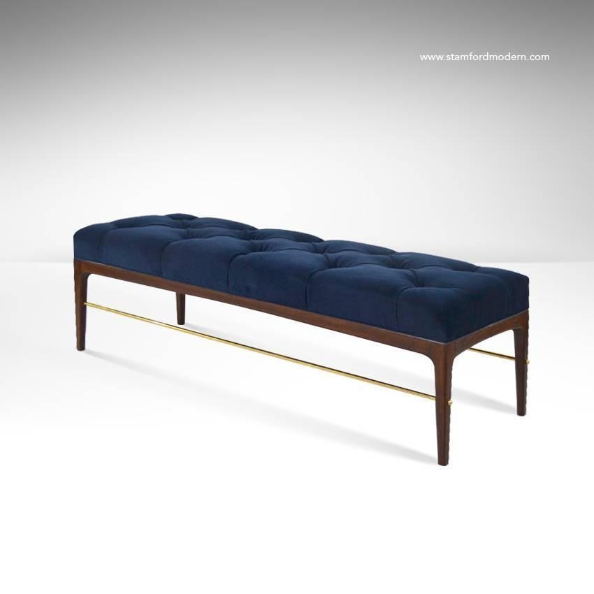 Brass Rodded Bench In Tufted Blue Velvet At 1stdibs