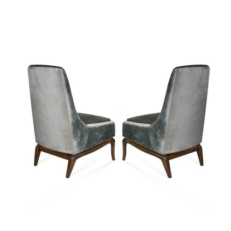 Gentil Mid Century Modern Pair Of Tufted High Back Slipper Chairs, 1950s For Sale